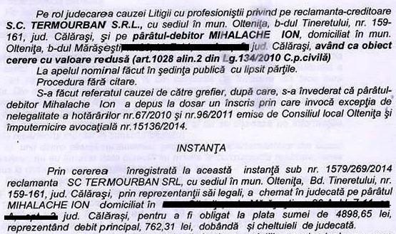 Mihalache Marius Extras din hotărârea judecătoraescă