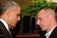 Preşedintele Obama şi ministrul finanţelor din Grecia Yanis Varoufakis