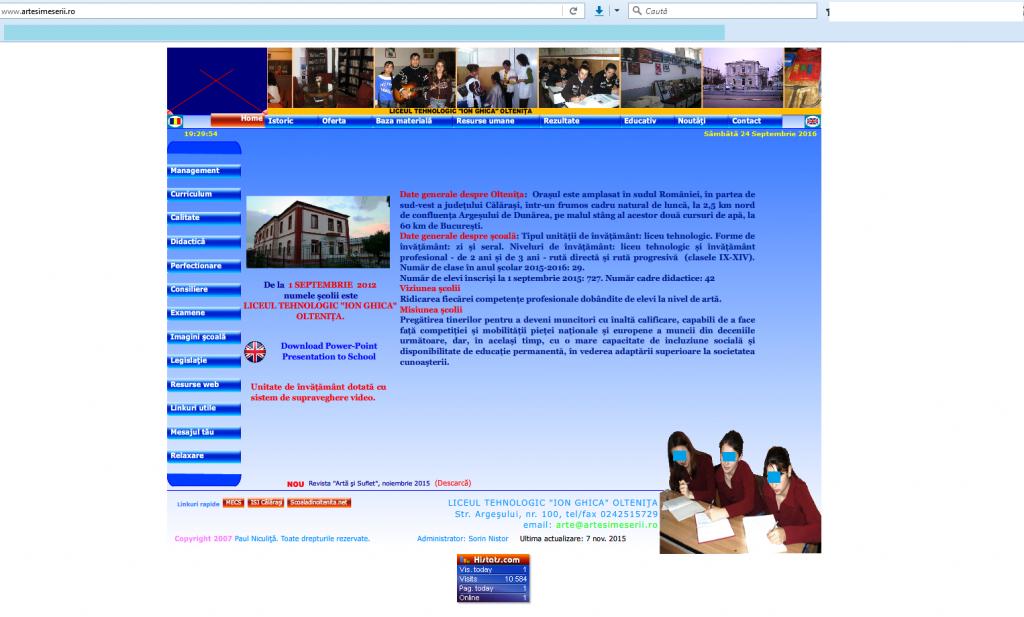 Liceu de arte la Olteniţa. Liceul Tehnologic Ioan Ghica