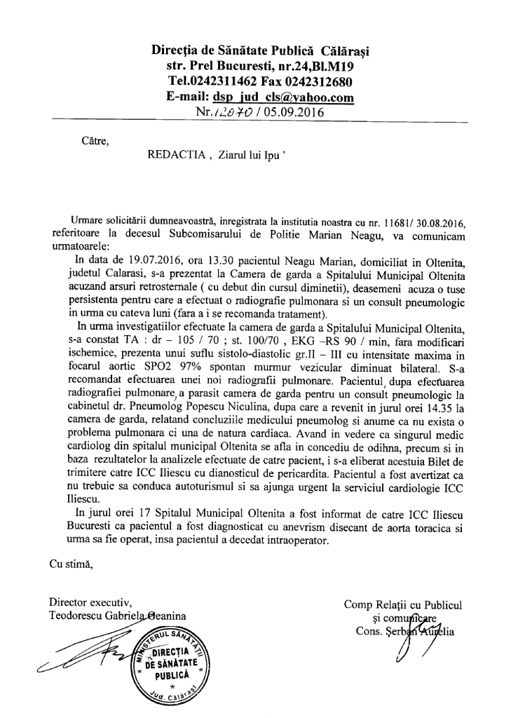 Cazul subcomisarului Marian Neagu rezolvat. Raspuns DSP Călărași