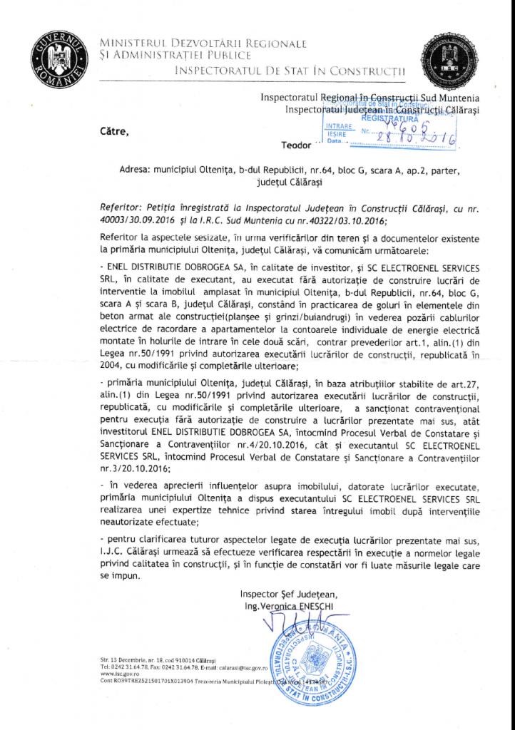 Enel darama România.  Răspunsul Inspectoratului Regional în Construcţii Sud-Muntenia