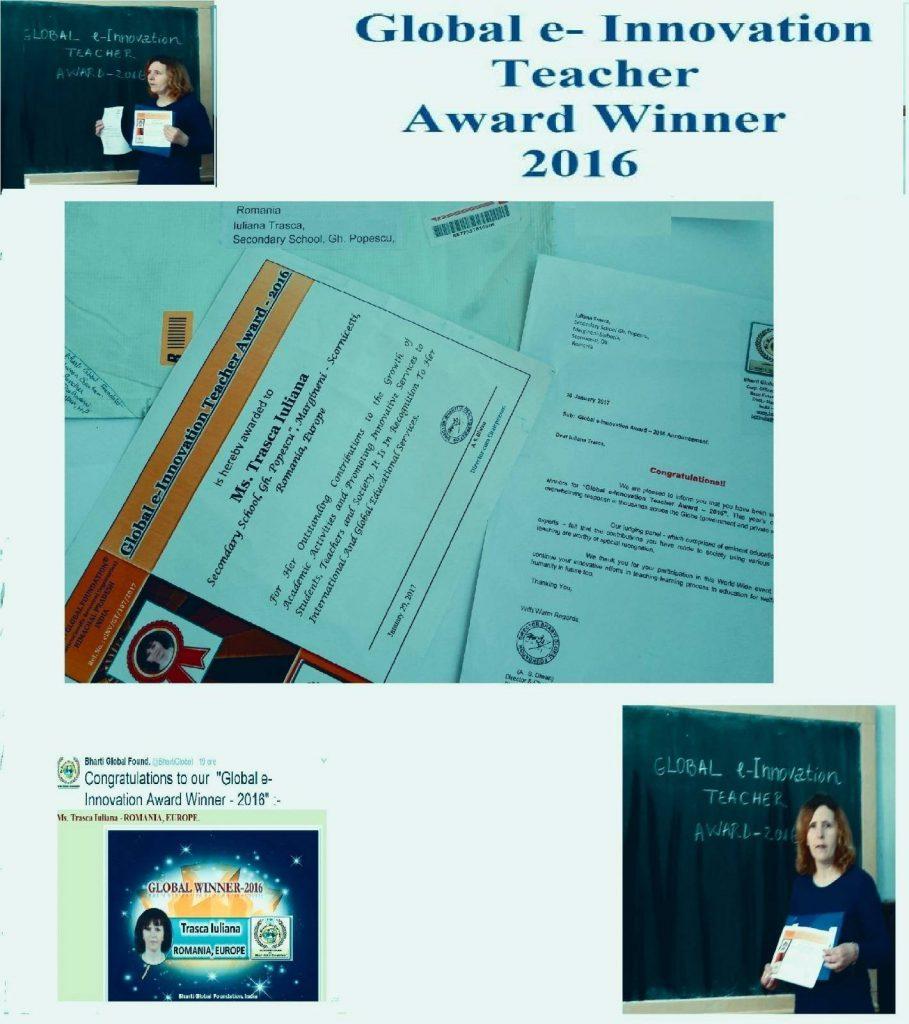 Global e-Innovation Teacher Award Winner - 2016