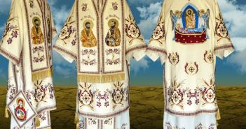 Vesminte arhieresti brodate cu icoana Adormirii Maicii D-lui pe spate , icoanele Sf. Ap. Petru si Pavel pe omofor si bedernita cu Maica Oranta